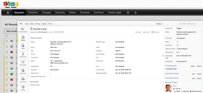 Screenshot Zoho Helpdesk Tool