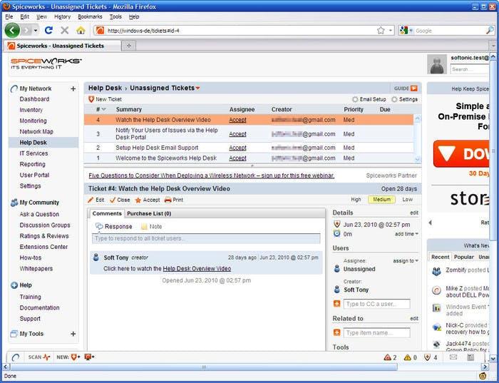 Spiceworks Help Desk Systeme