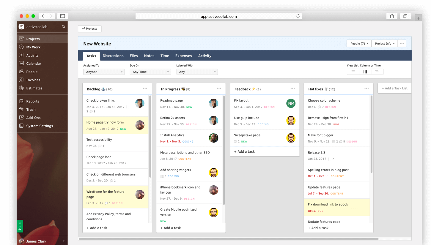 Active Collab agile Projektmanagement Tools