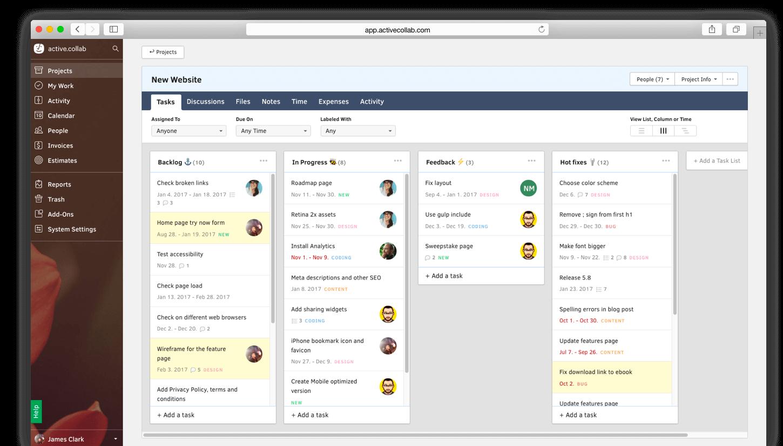 Active Collab agile Projektmanagement Tools