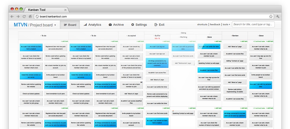 Projektmanagement Software Trello-Alternativen Kanban Tool
