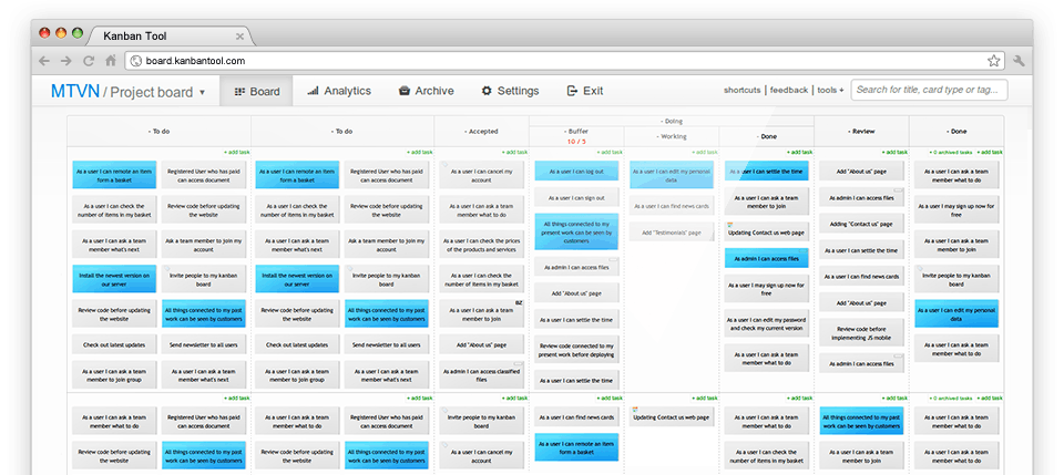 Projektmanagement Software Trello-Alternativen Kanban Tool