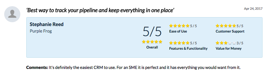 example of CRM review Capterra