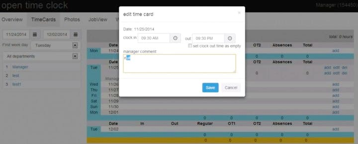 pointeuse en ligne gratuite gestion du temps Open Time Clock