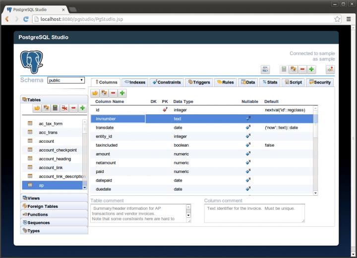 logiciel base de données gratuit PostgreSQL Studio