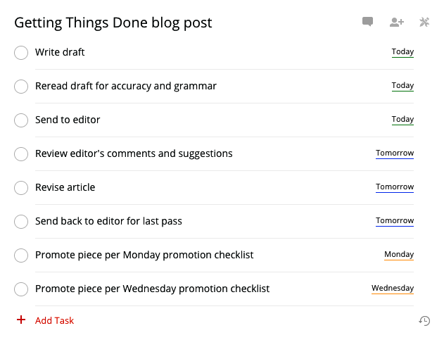 Getting Things Done-Projekt in Todoist