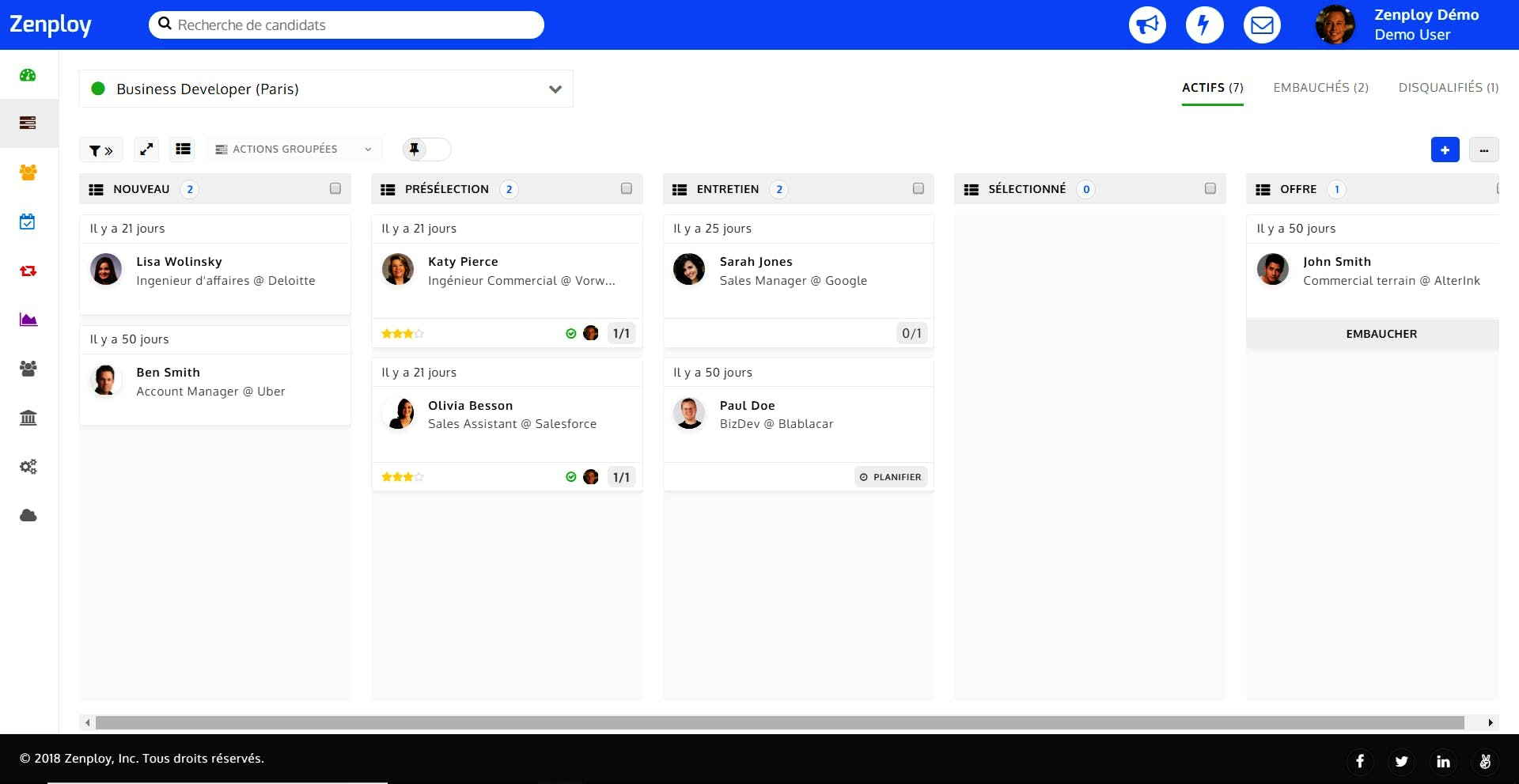 interface logiciel SIRH Zenploy