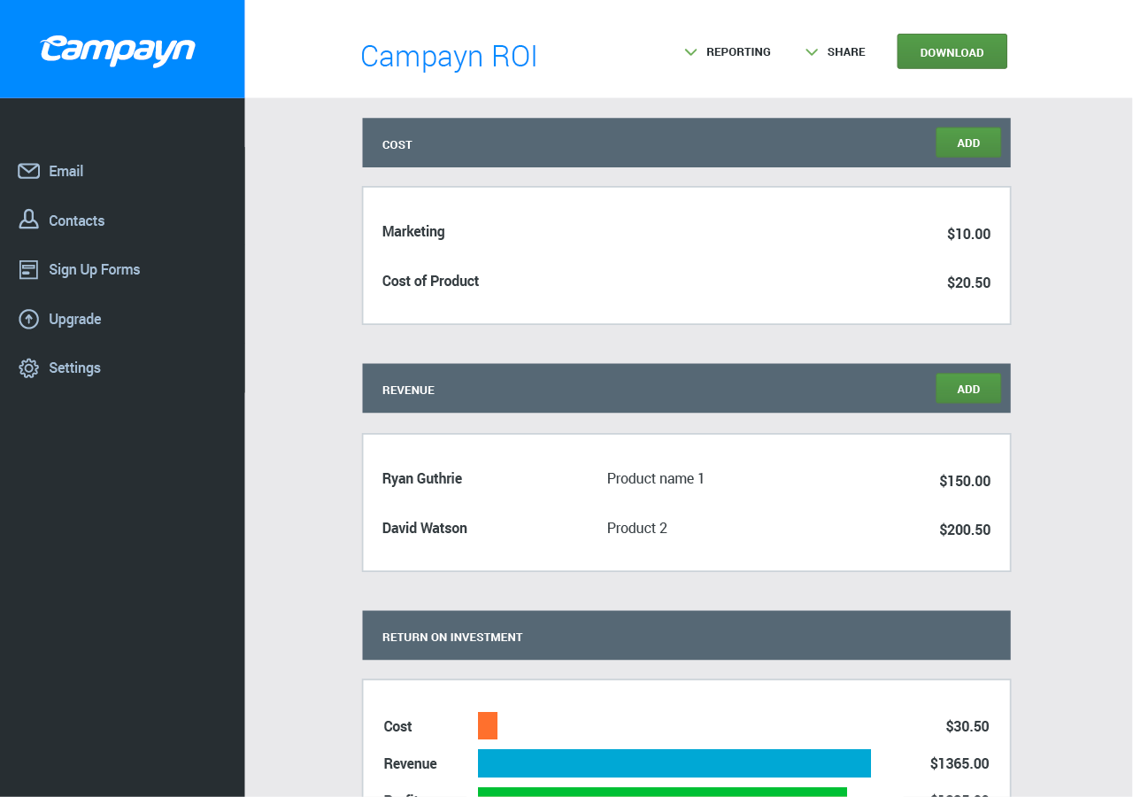 campayn interface email marketing