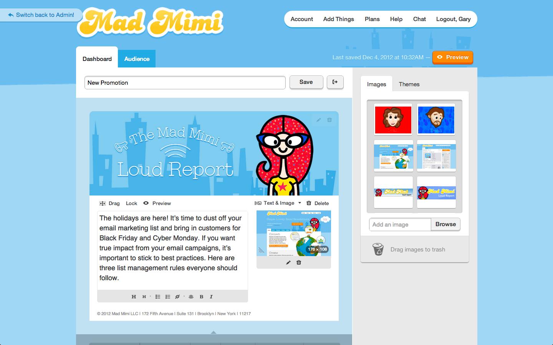 madmini interface email marketing