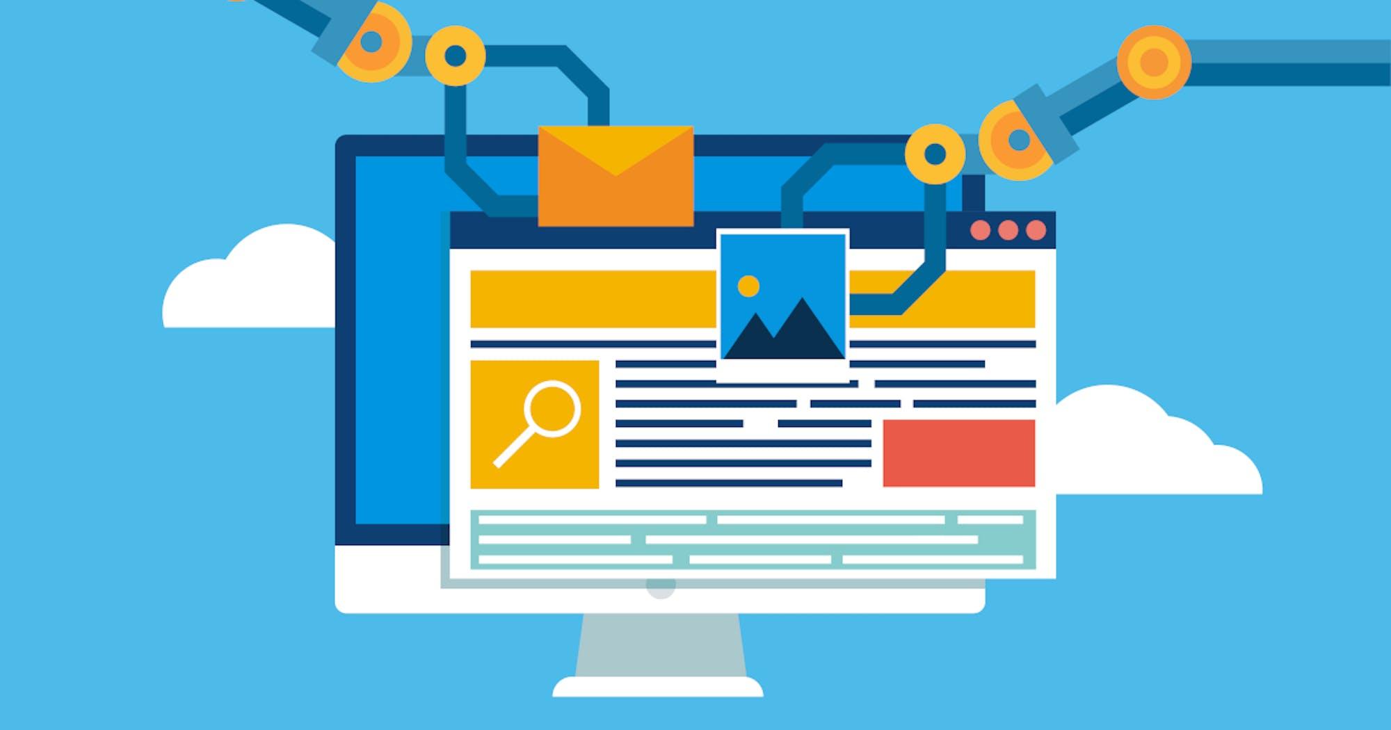 Roboterhände an einem Bildschirm zeigen CRM Marketing Automation