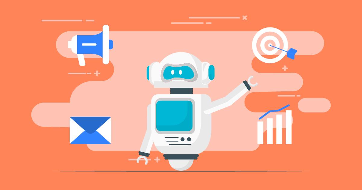 Roboter zeigt künstliche Intelligenz im Vertrieb