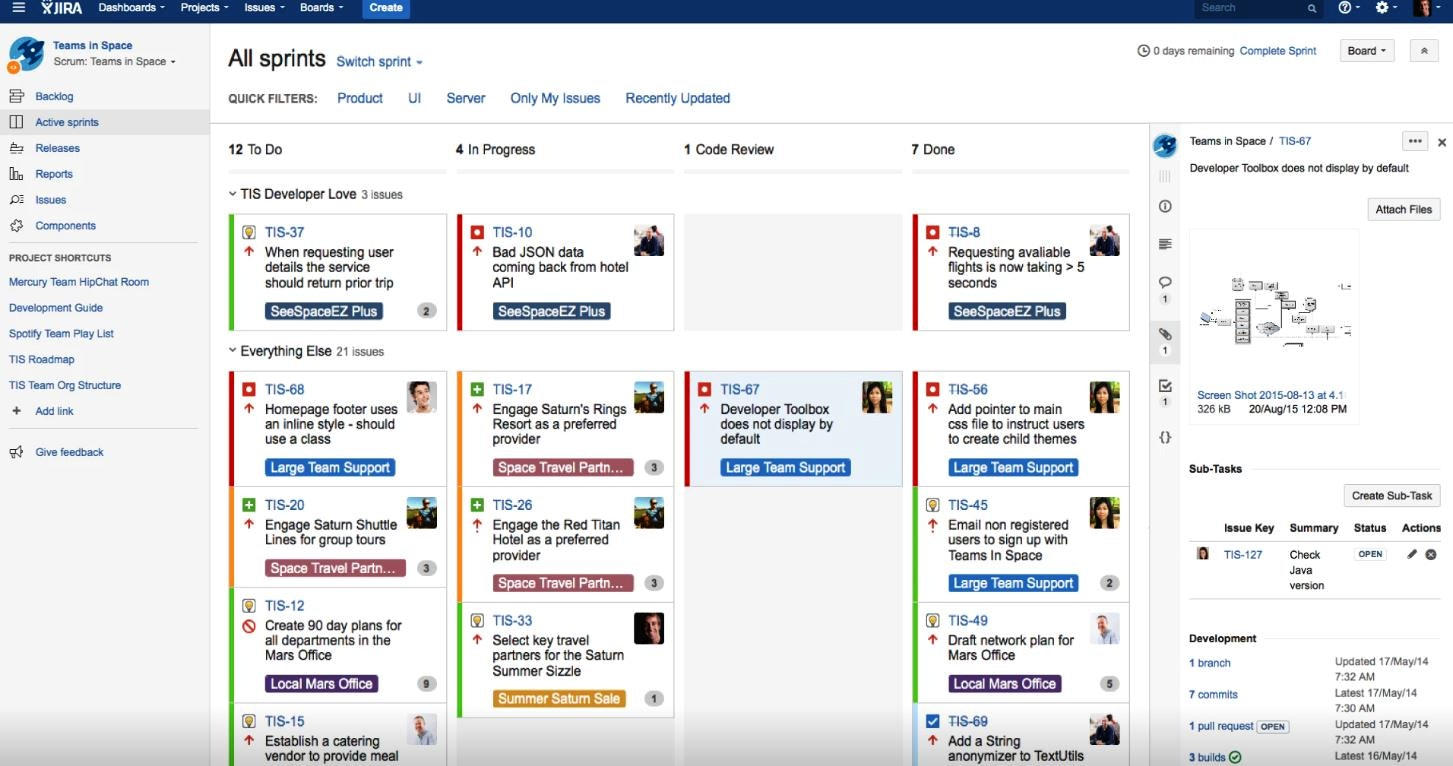 Screenshot der Sprints in Jira