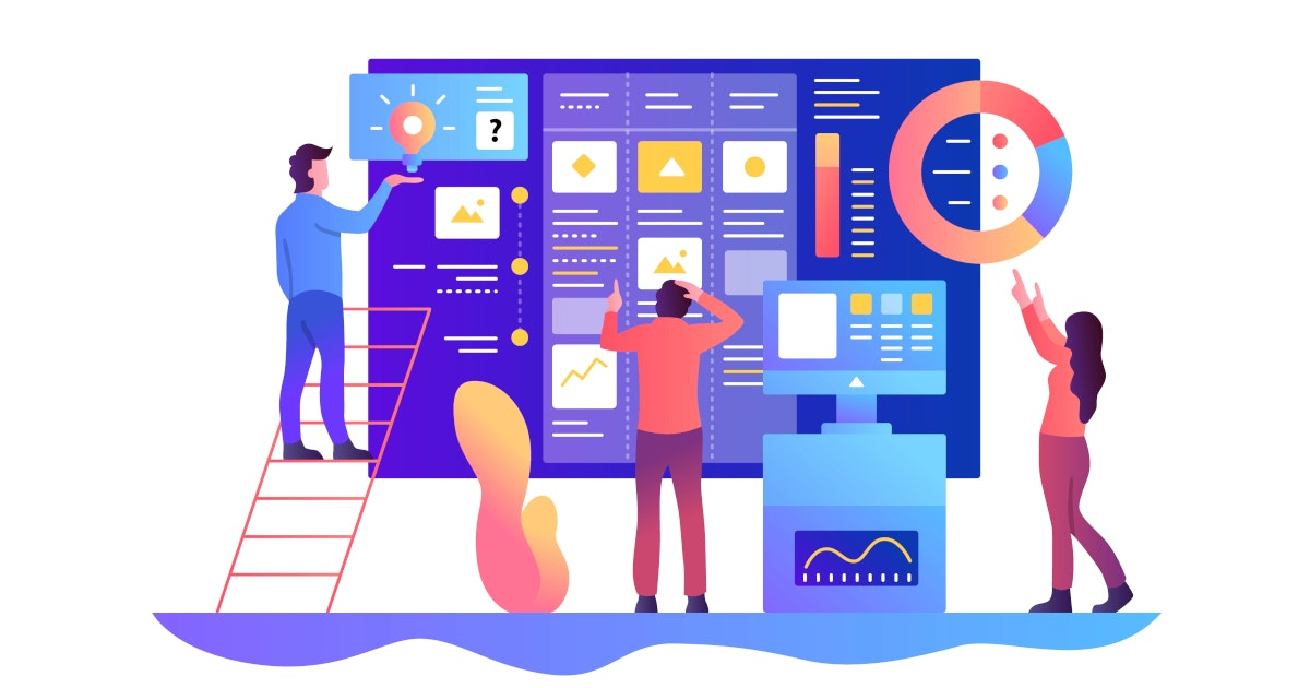 Menschen stehen vor einem Bord miit Grafiken aus dem Projektmanagement