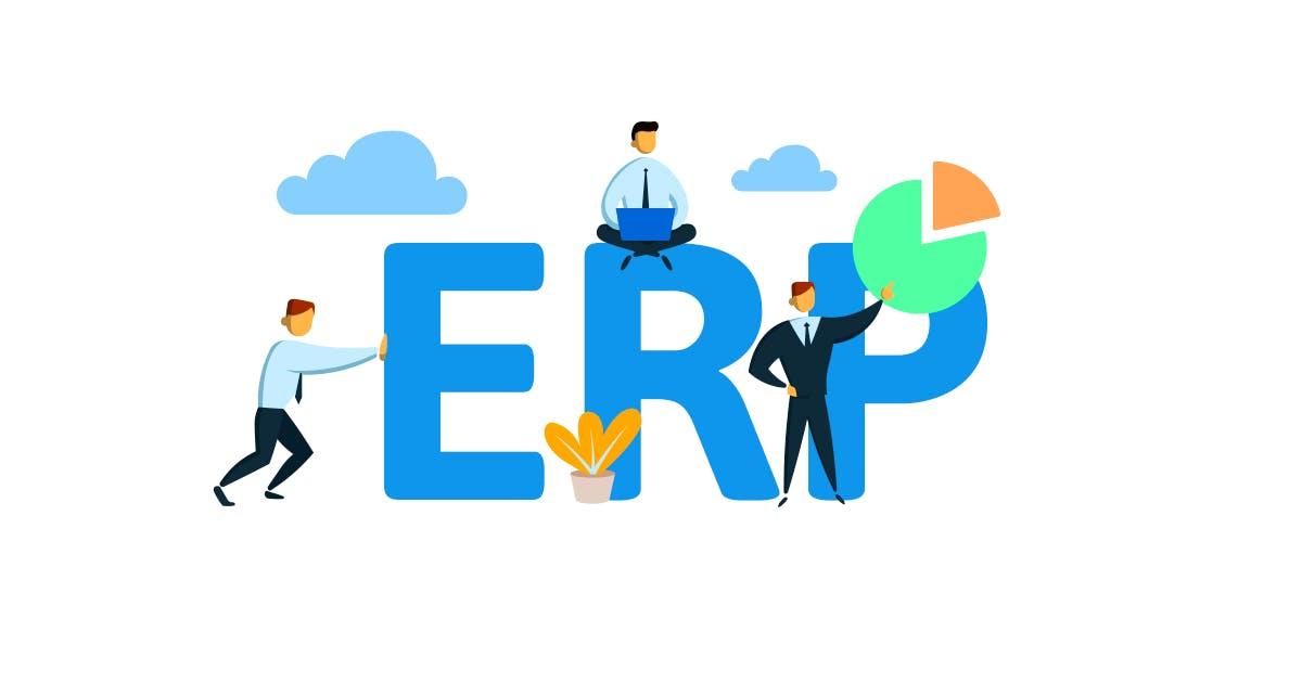 Das Wort ERP und Symbole dazu