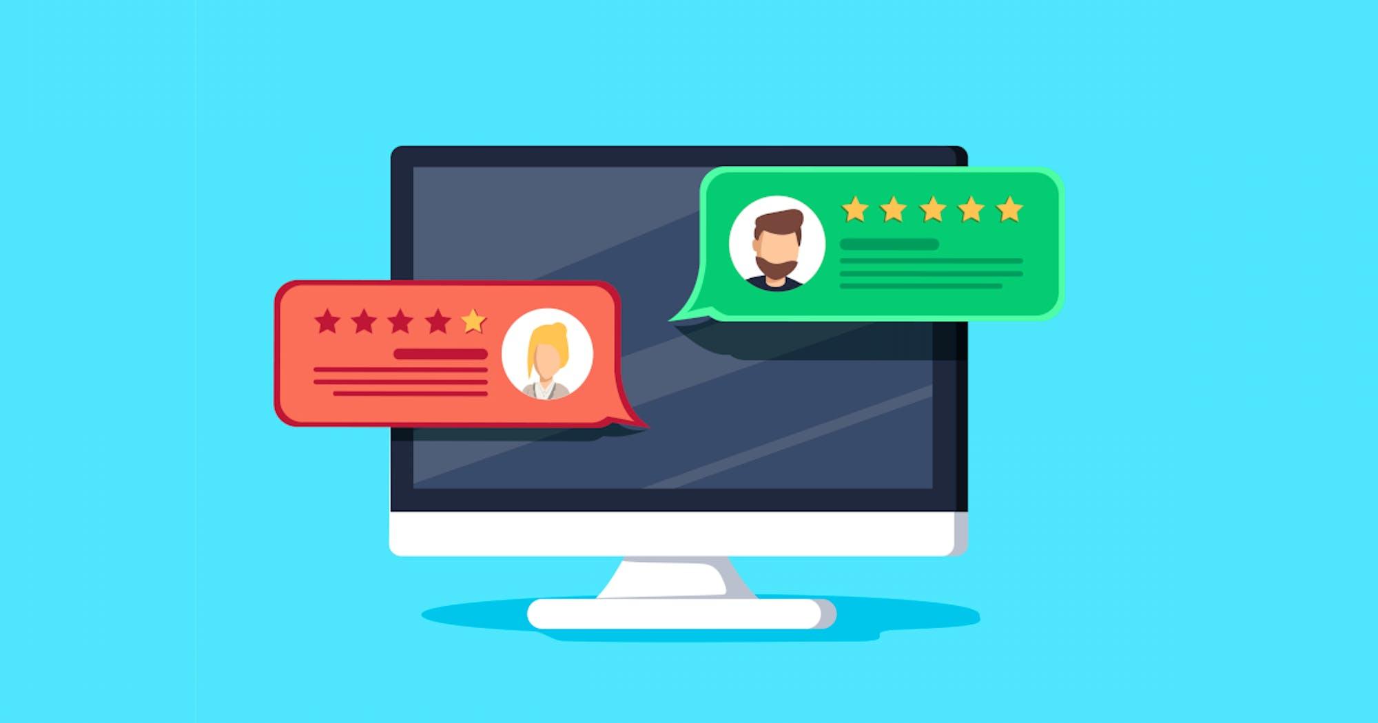 Ein PC mit Online Bewertungen von Kunden