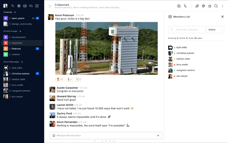 Rocket.chat alternativa a Slack