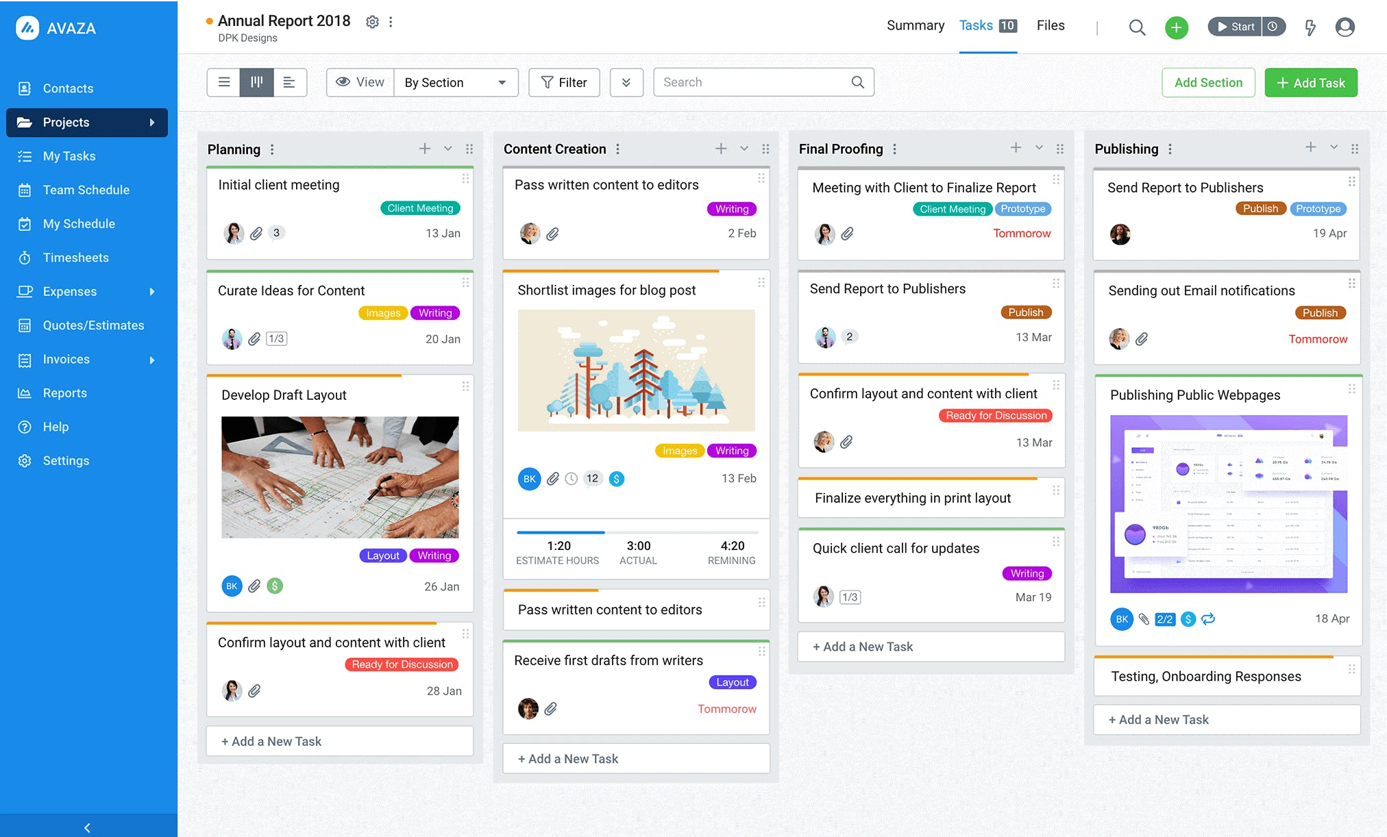 Kanban weergave in Avaza project management software