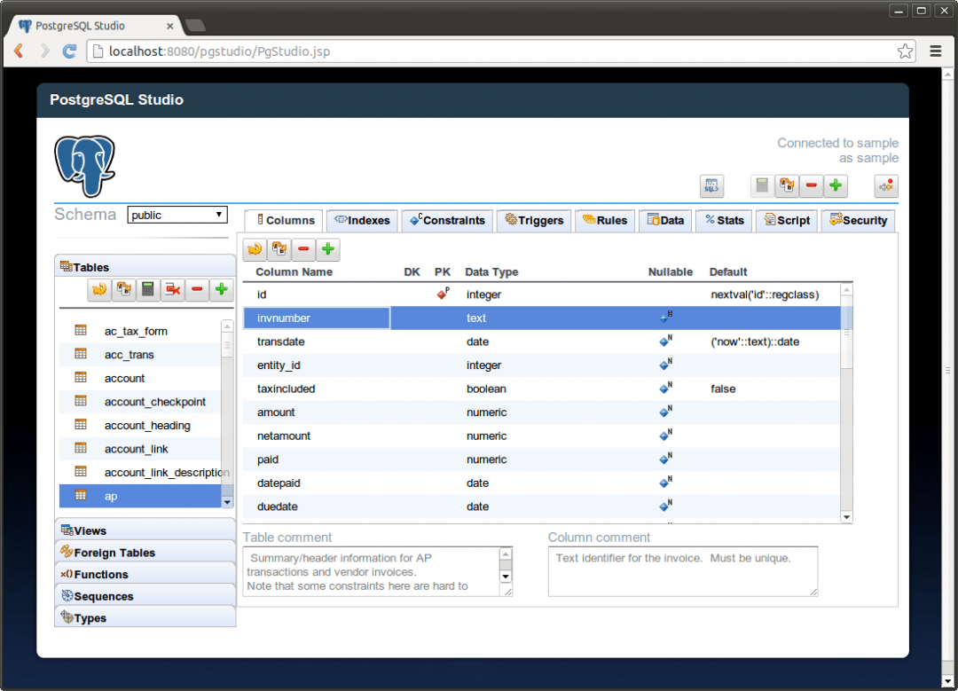 Captura de tela do PostgreSQL
