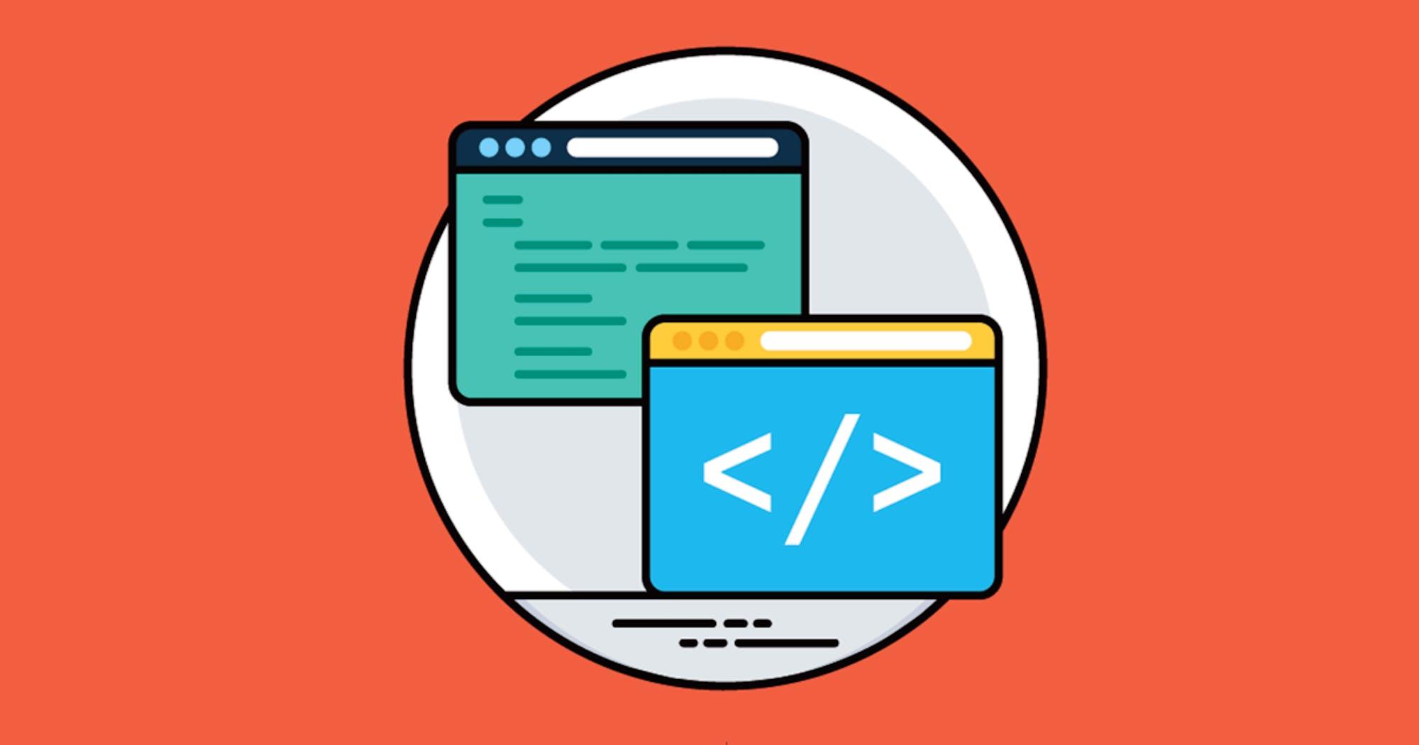 Zwei Bildschirme mit HTML Code