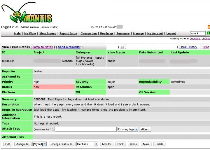 Captura de tela do Mantis Bug Tracker