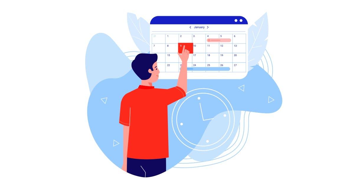 Mann bucht Termin an einem Online Kalender