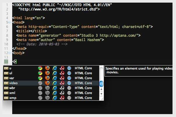 Screenshot kostenloser HTML Editor Aptana Studio 3
