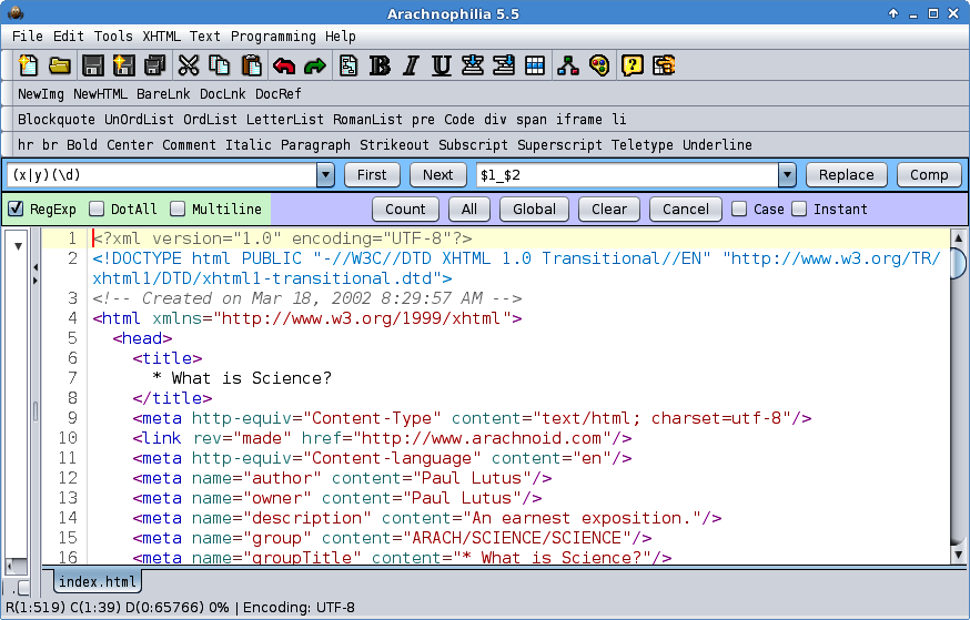 Screenshot kostenloser HTML Editor Arachnophilia