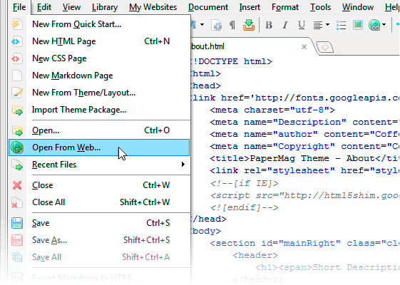 Screenshot kostenloser HTML Editor CoffeeCup