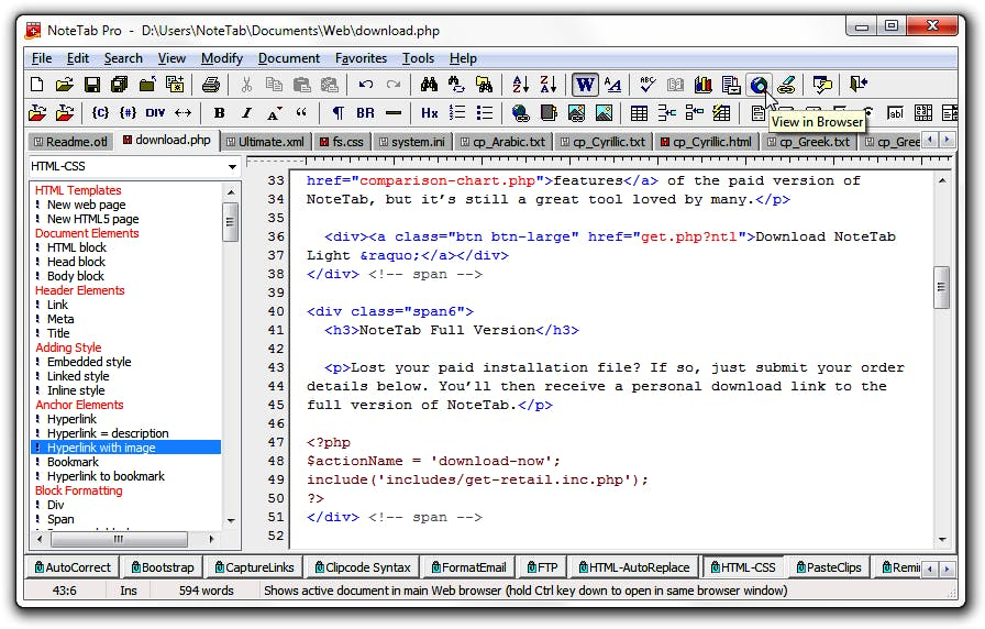 Screenshot kostenloser HTML Editor NoteTab Light