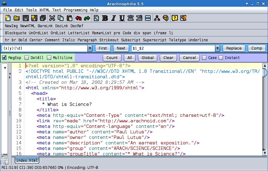gratis HTML-editors arachnophilia