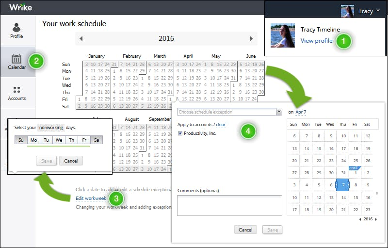 calendrier outil wrike