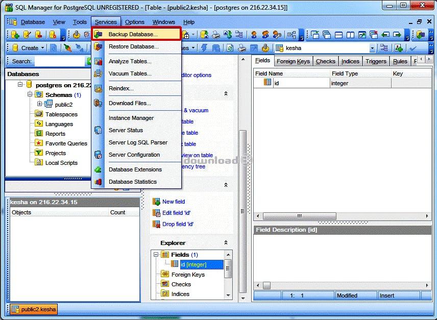 back-up maken van gegevens open source database systeem PostgreSQL