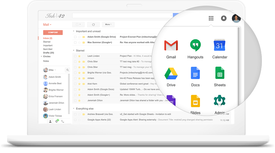 captura de tela do g suite