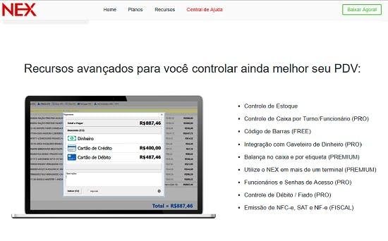 captura de tela do programa nex