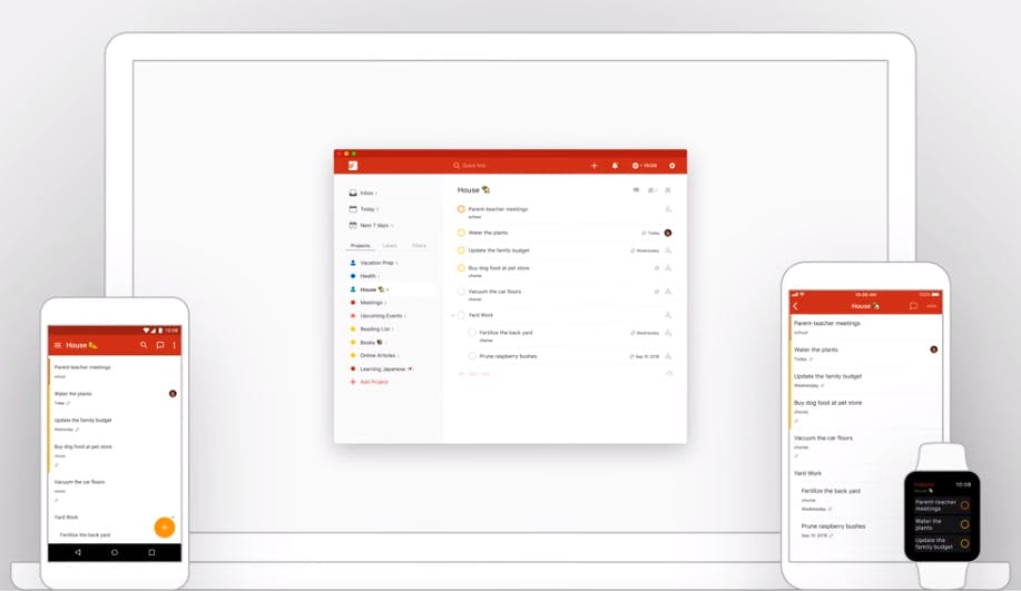 captura de tela do todoist