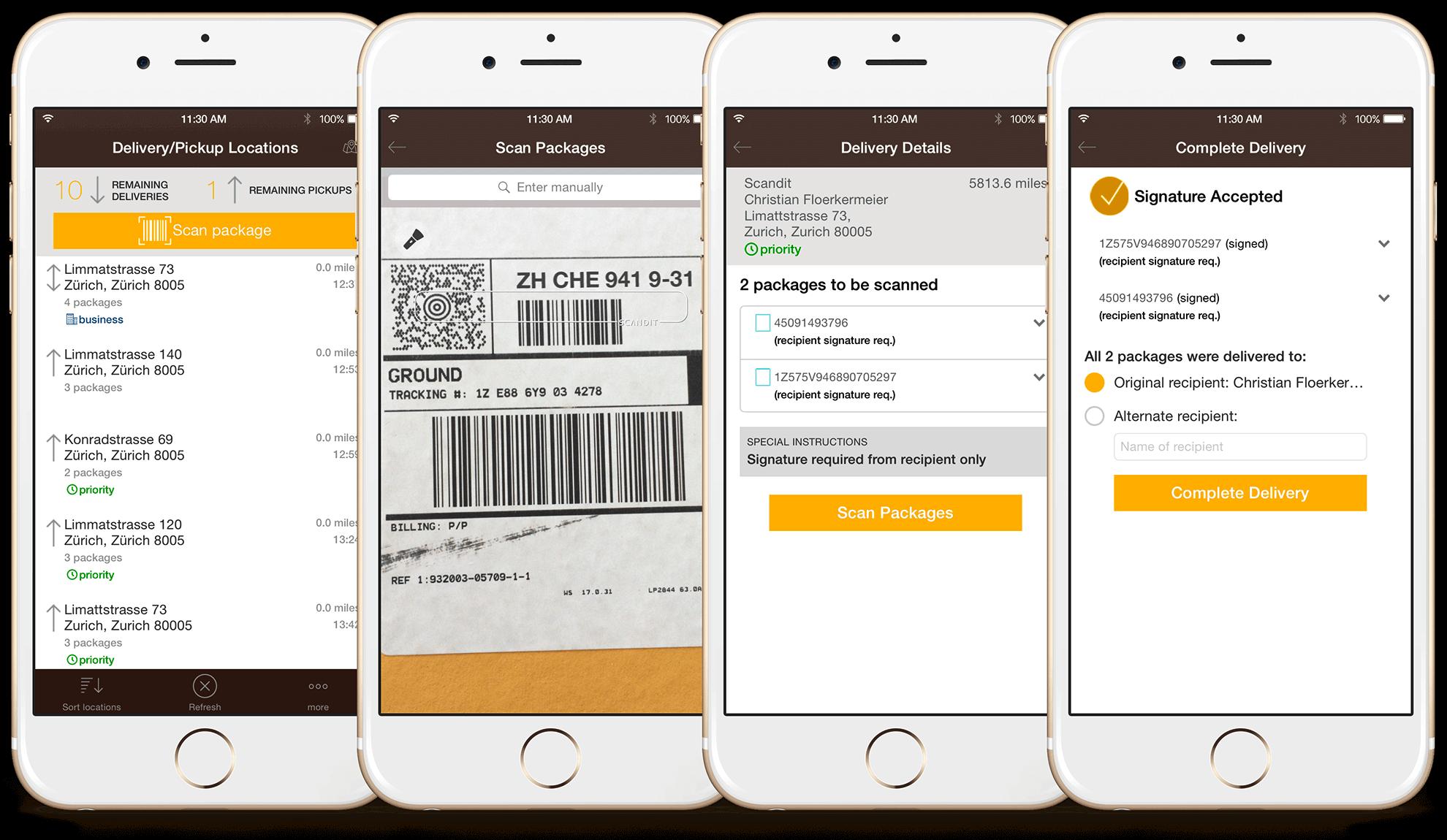 captura de tela leitor confirmação de entrega scandit