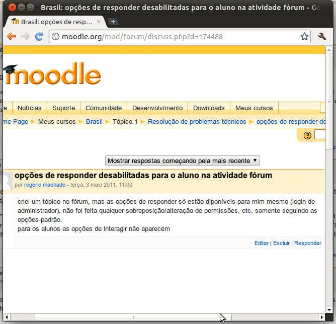 captura de tela de fórum do moodle