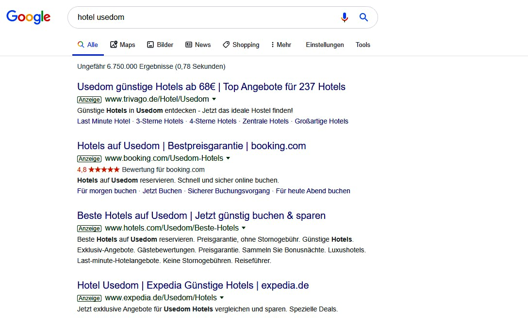 Customer Journey Map Screenshot Google results Hotel Usedom