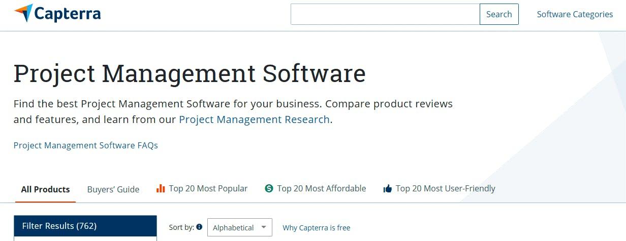 Projektmanagement Software Suchergebnis Capterra