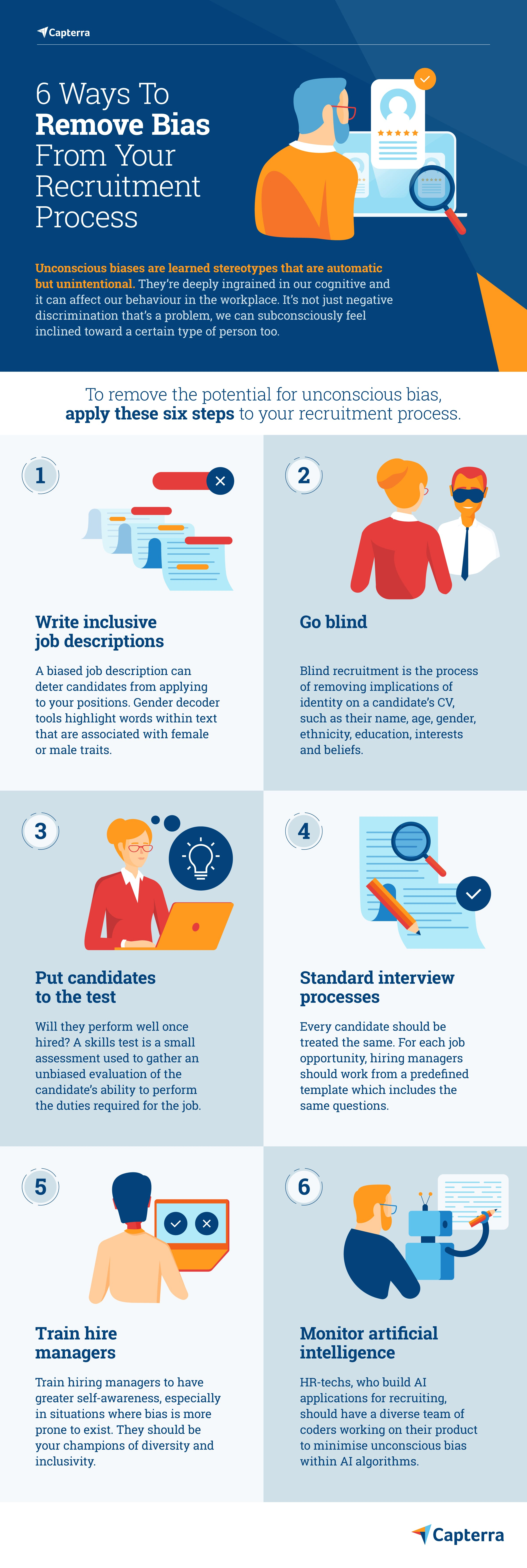 6 ways to remove unconscious bias from recruitment infographic
