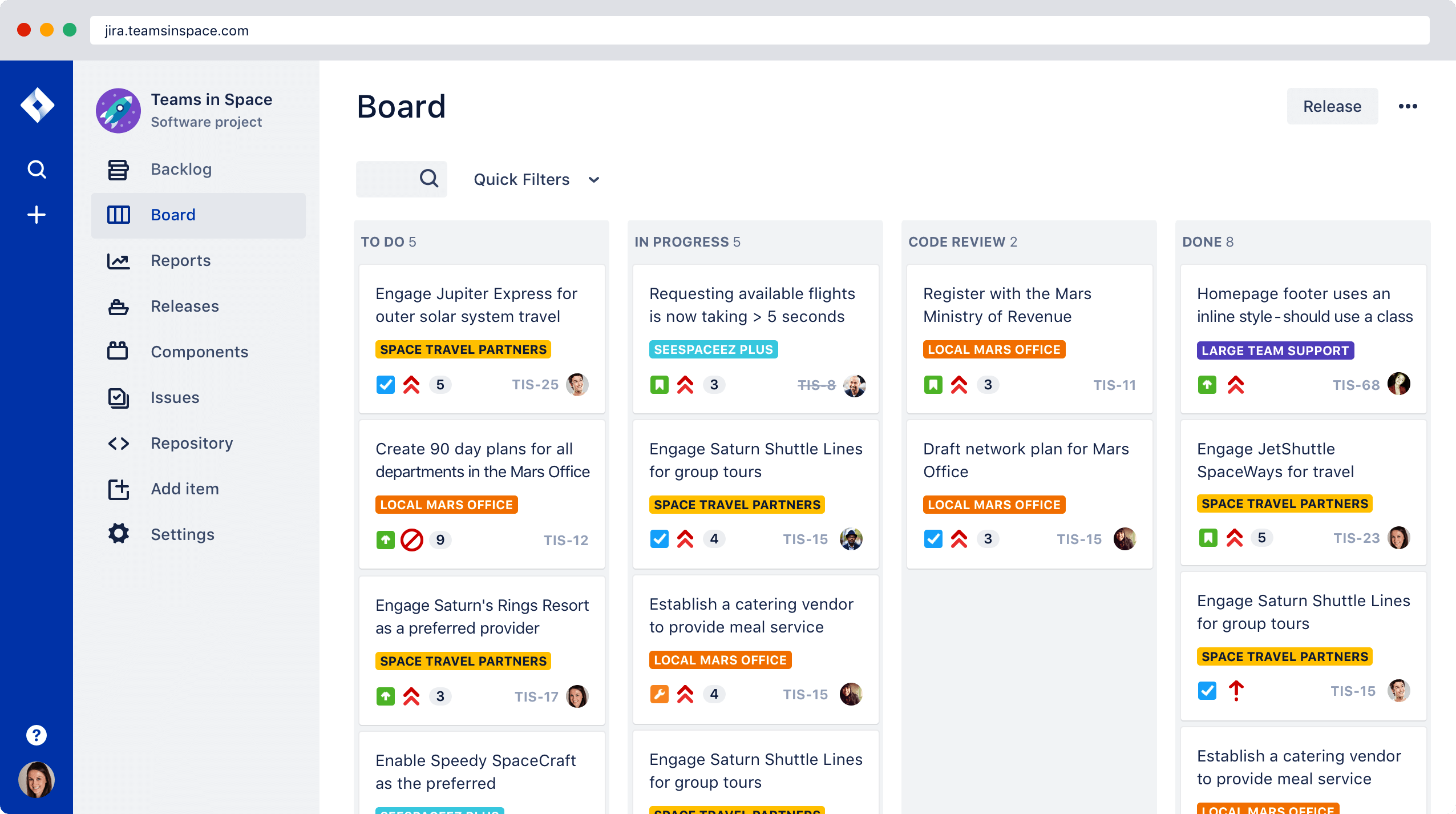 JIRA online task management software for teams