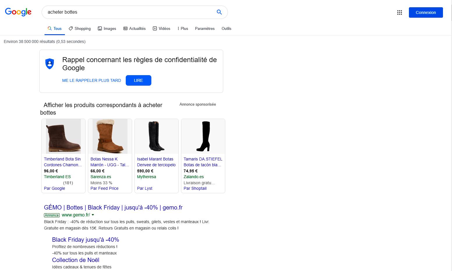Annonce google ads pour l'achat de bottes