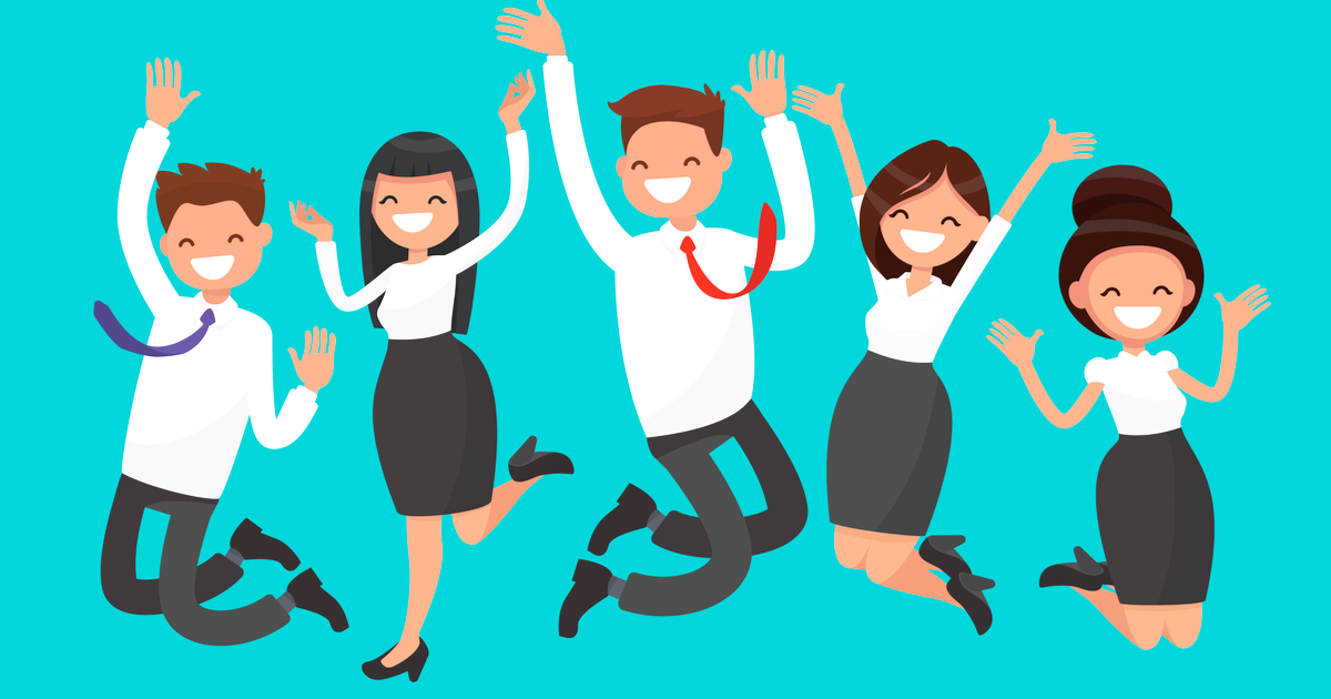 Happy employees jumping for joy