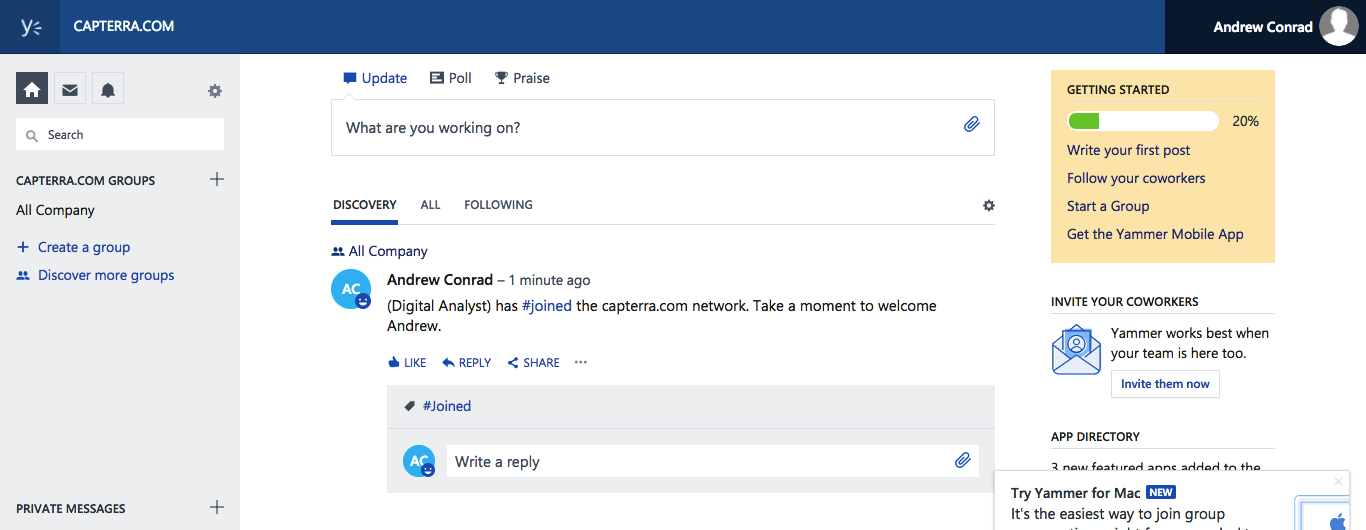 screenshot yammer