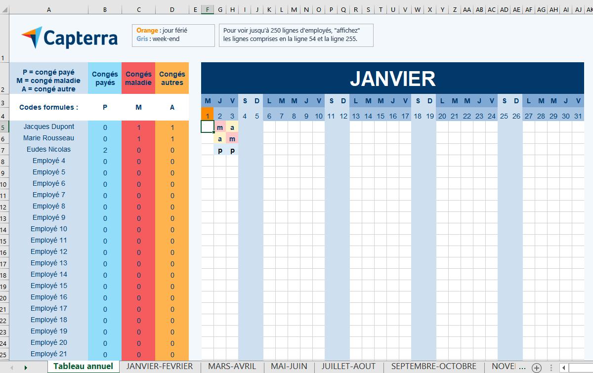 comment créer un planning du personnel Excel