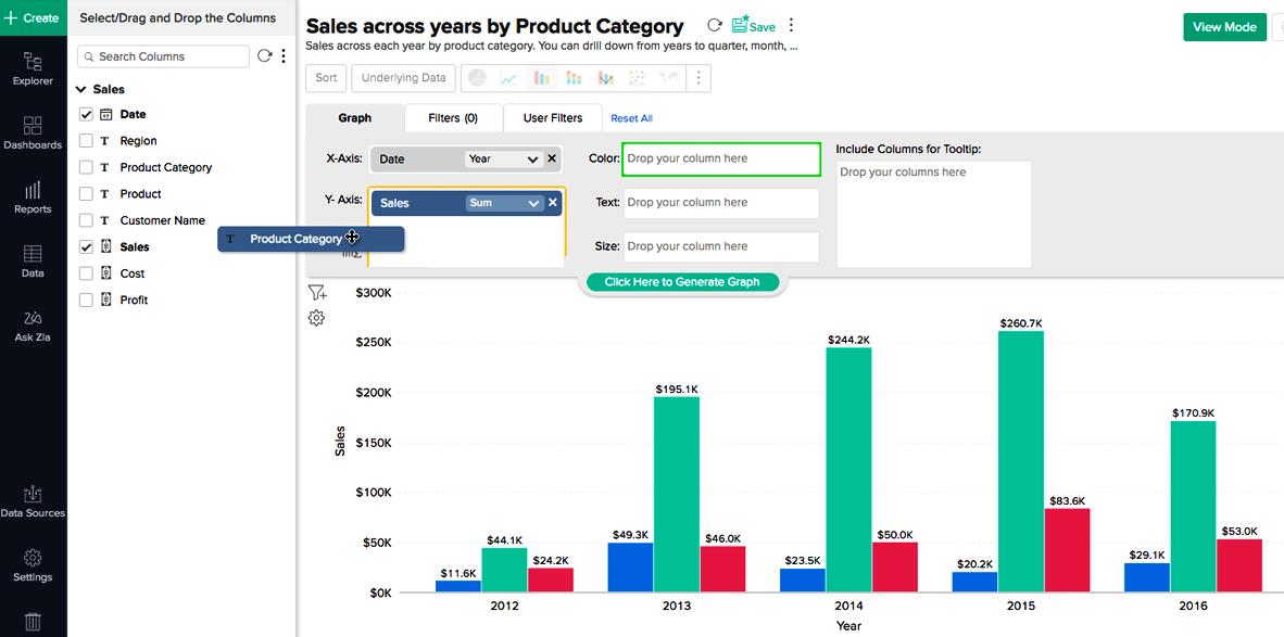 screenshot beispiel CRM für KMU berichterstattung in zoho