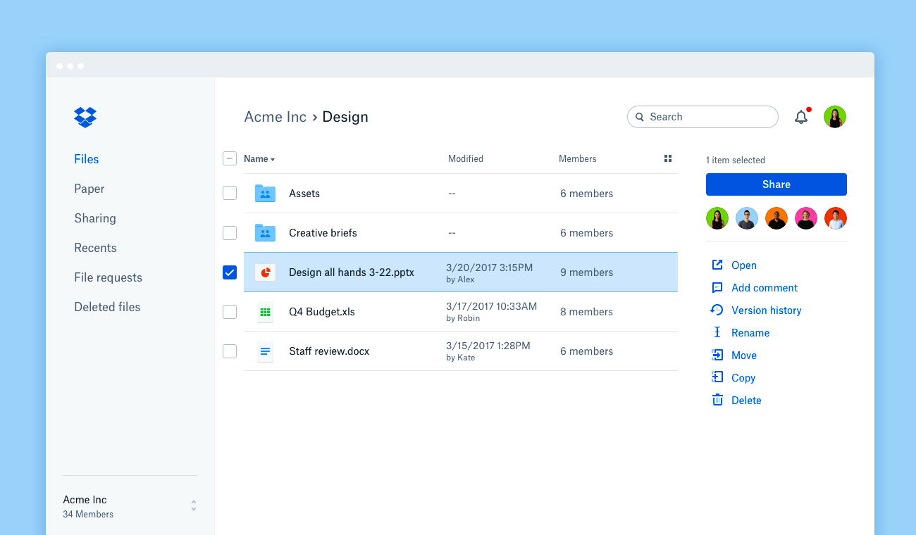 Dropbox document management interface