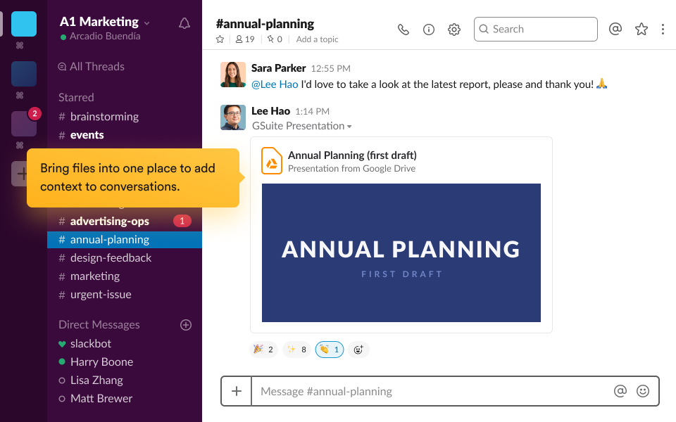 Slack's document management feature