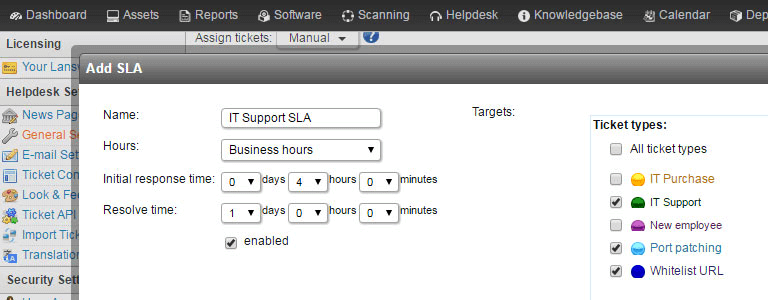SLA's in IT-servicedesk Lansweeeper