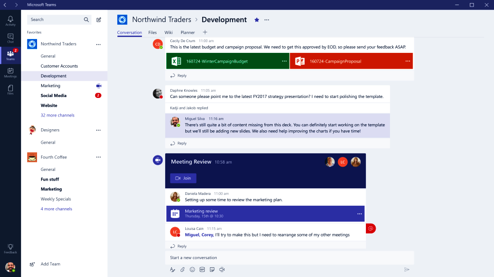 Screenshot di Microsoft Teams